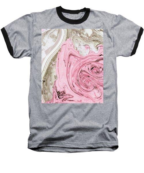 Nude And Pink Marbling Art Baseball T-Shirt by Uma Gokhale