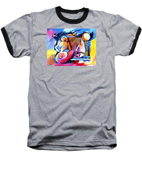 Nude Woman And Sailboat Baseball T-Shirt