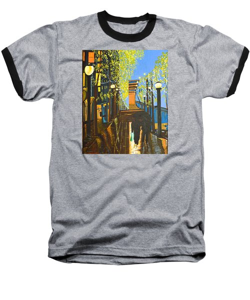 Baseball T-Shirt featuring the painting Nuit De Pluie by Donna Blossom