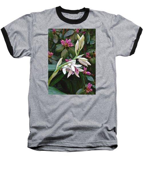 Nun Orchid Baseball T-Shirt by Janis Nussbaum Senungetuk