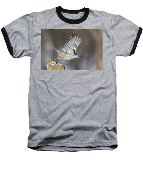 Baseball T-Shirt featuring the photograph Nuthatch In Action by Mircea Costina Photography