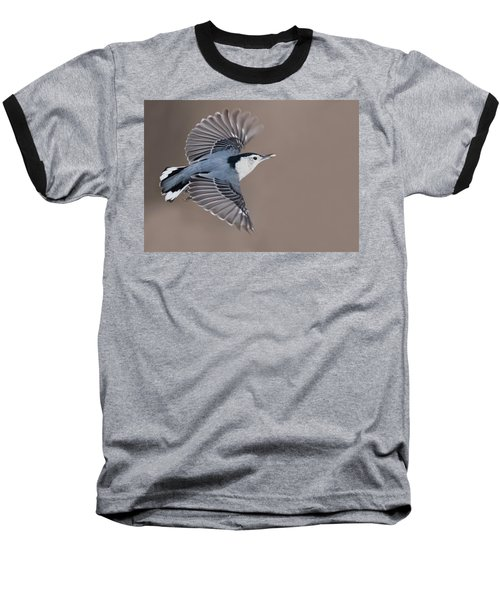 Baseball T-Shirt featuring the photograph Nuthatch In Flight by Mircea Costina Photography