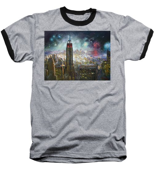 Nyc. Empire State Building Baseball T-Shirt by Ylli Haruni