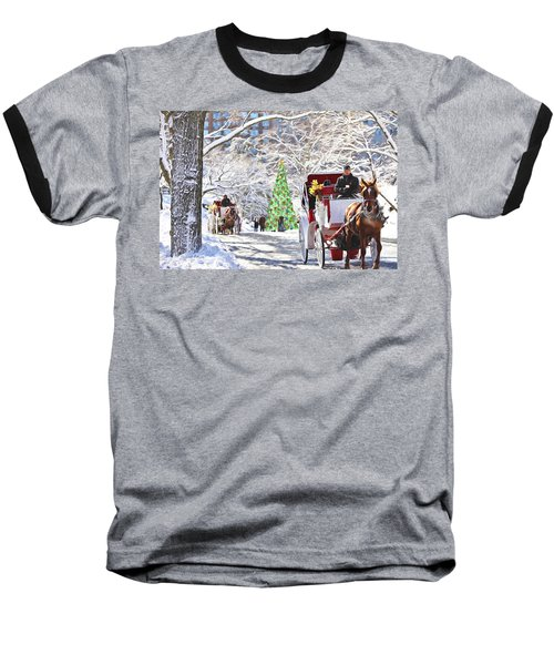Festive Winter Carriage Rides Baseball T-Shirt