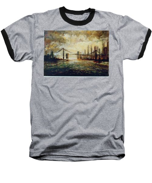 Baseball T-Shirt featuring the painting Nyc Harbor by Walter Casaravilla