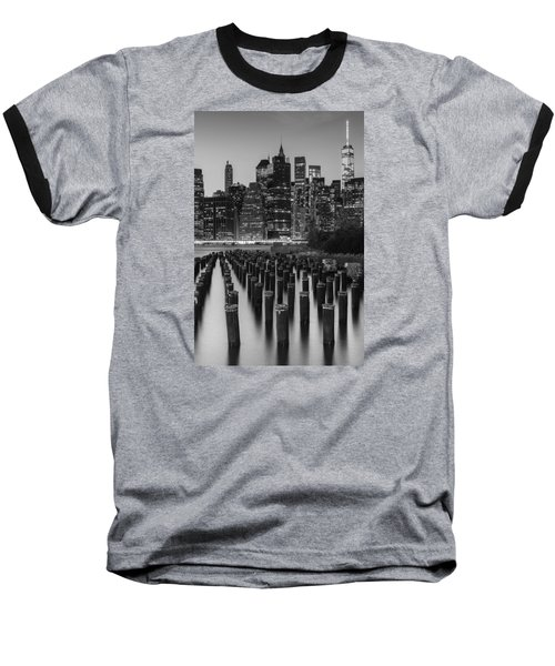 Baseball T-Shirt featuring the photograph Nyc Skyline Bw by Laura Fasulo