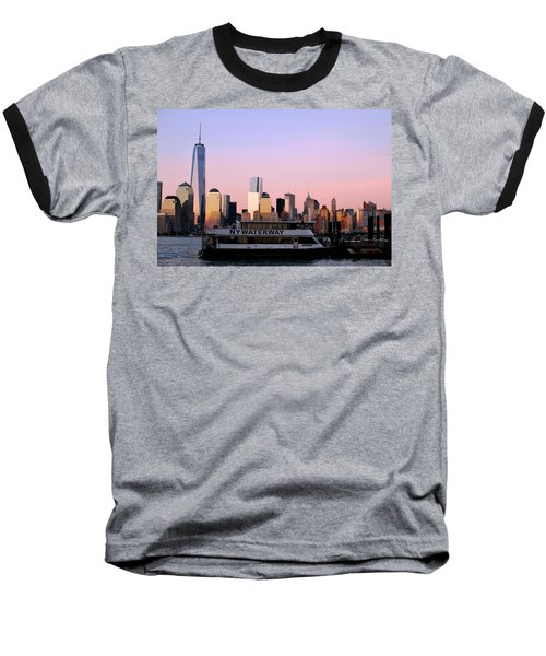 Nyc Skyline With Boat At Pier Baseball T-Shirt