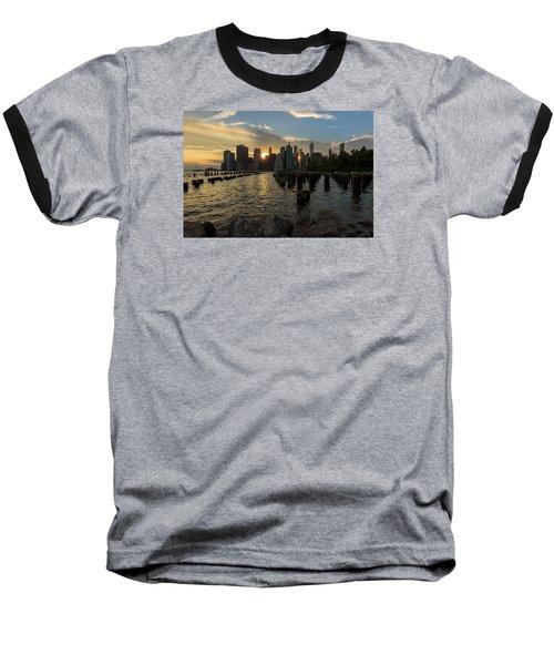 Nyc Sunset Baseball T-Shirt by Anthony Fields
