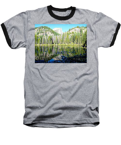 Nymph Lake And Flattop Mountain Baseball T-Shirt by Joseph Hendrix