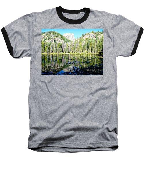 Nymph Lake And Flattop Mountain Baseball T-Shirt