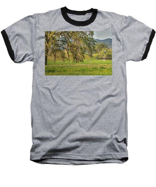 Oak And Windmill In Meadow Baseball T-Shirt