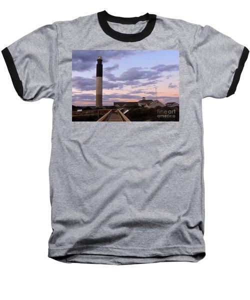 Oak Island Lighthouse Baseball T-Shirt by Shelia Kempf