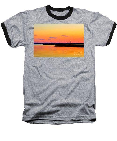 Oak Island Lighthouse Sunset Baseball T-Shirt by Shelia Kempf