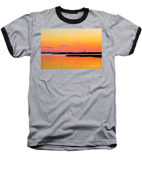 Oak Island Lighthouse Sunset Baseball T-Shirt