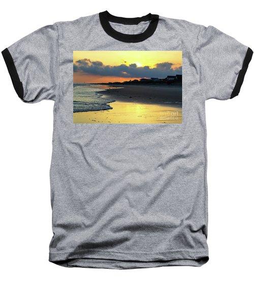 Oak Island Yellow Sunset Baseball T-Shirt