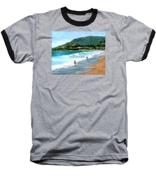 Oak Street Beach, Laguna Beach Baseball T-Shirt by Alice Leggett