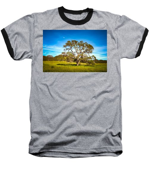 Oak Tree Green Meadow Moon Rising Baseball T-Shirt