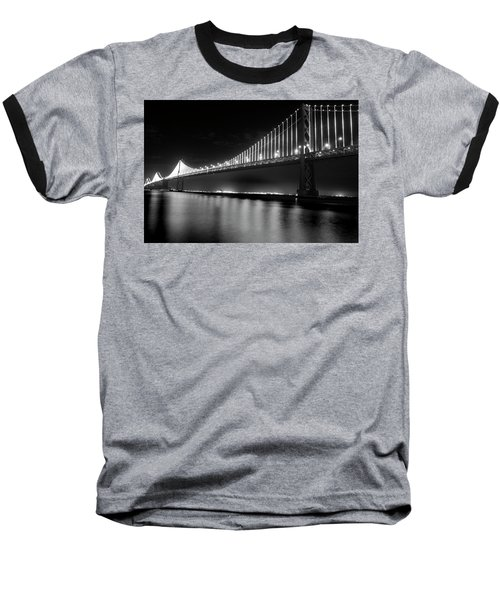 Baseball T-Shirt featuring the photograph Oakland Bay Bridge At Night by Darcy Michaelchuk