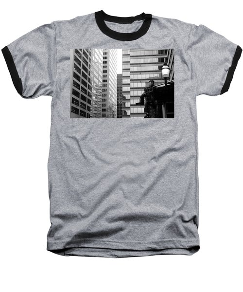 Baseball T-Shirt featuring the photograph Observing The City by Valentino Visentini
