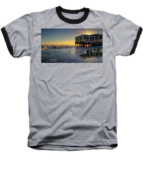 Oc Music Pier Sunset Baseball T-Shirt by John Loreaux