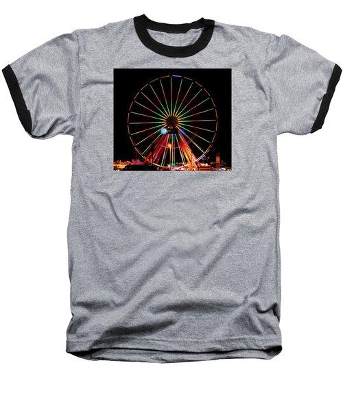 Oc Pier Ferris Wheel At Night Baseball T-Shirt by William Bartholomew