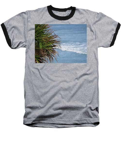 Ocean And Palm Leaves Baseball T-Shirt by Kathy Long