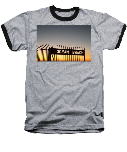 Ocean Beach Pier Gate Baseball T-Shirt by Christopher Woods