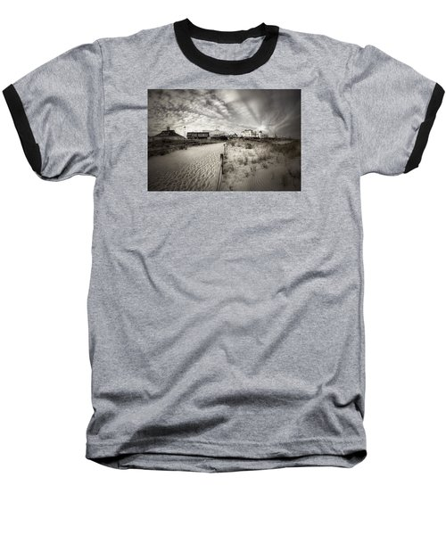 Ocean City Bw Baseball T-Shirt by John Loreaux