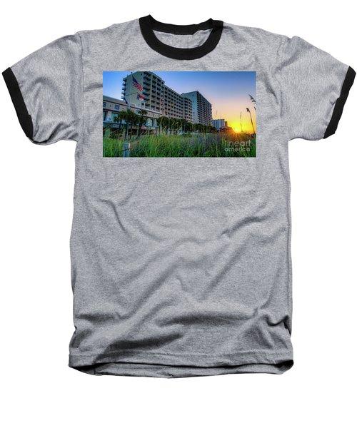 Ocean Drive Sunrise North Myrtle Beach Baseball T-Shirt by David Smith