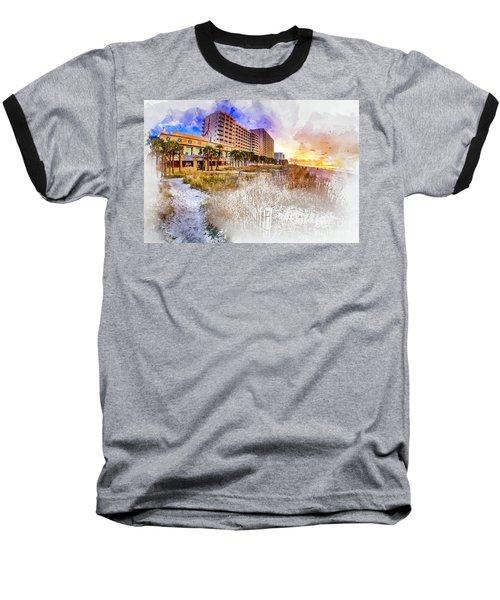 Ocean Drive Sunrise Watercolor Baseball T-Shirt