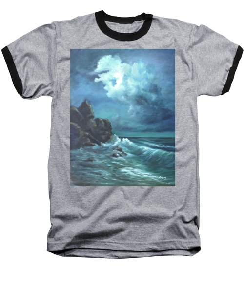 Baseball T-Shirt featuring the painting Seascape And Moonlight An Ocean Scene by Luczay