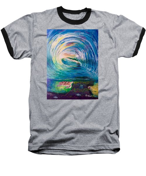 Baseball T-Shirt featuring the painting Ocean Reef Beach by Dawn Harrell
