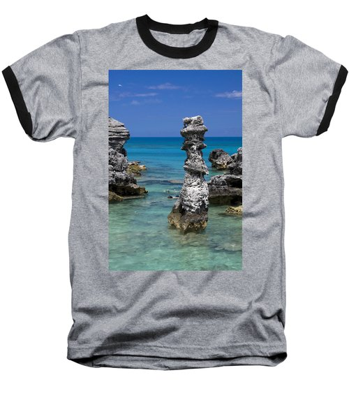 Ocean Rock Formations Baseball T-Shirt by Sally Weigand