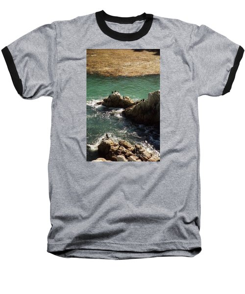 Ocean Rock Near Carmel Baseball T-Shirt by Ted Pollard