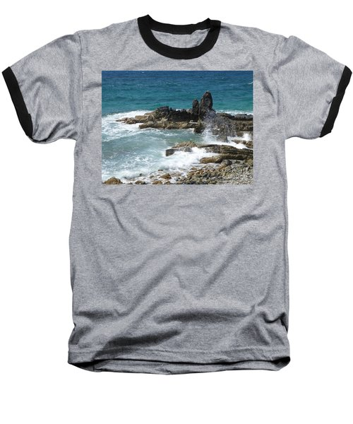 Ocean Spray Mid-air Baseball T-Shirt by Margaret Brooks