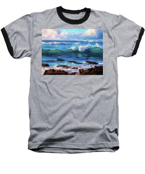 Coastal Ocean Sunset At Turtle Bay, Oahu Hawaii Beach Seascape Baseball T-Shirt