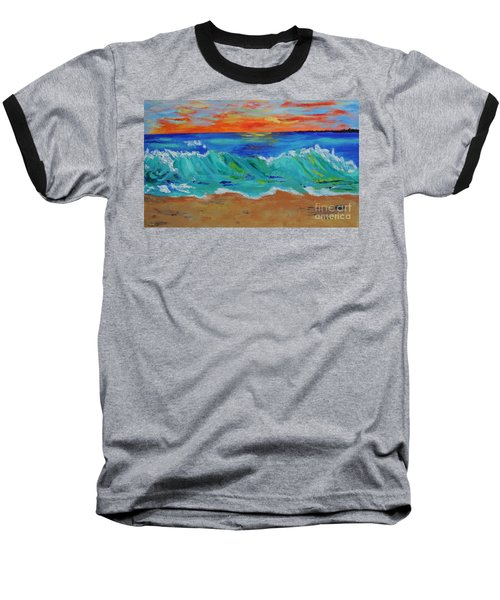 Baseball T-Shirt featuring the painting Ocean Sunset by Haleh Mahbod