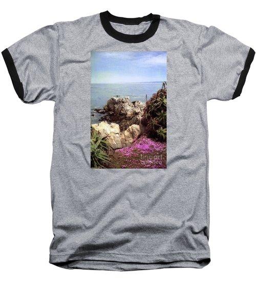 Ocean View Rock And Flowers Baseball T-Shirt