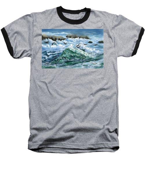 Ocean Waves And Pelicans Baseball T-Shirt by Judy Filarecki