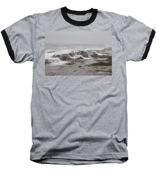 Ocean Waves Over Rocks Baseball T-Shirt
