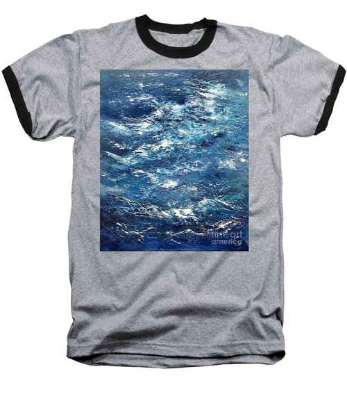 Ocean's Blue Baseball T-Shirt by Valerie Travers