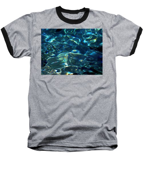 Ocean Water Reflections Island Santorini Greece Baseball T-Shirt
