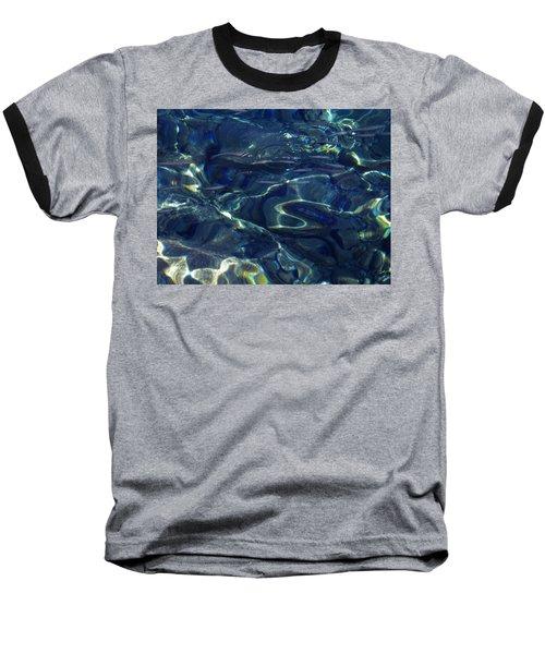 Baseball T-Shirt featuring the photograph Ocean Water Reflections.santorini Island Greece by Colette V Hera  Guggenheim