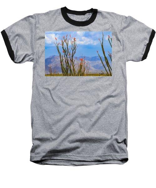 Ocotillo Cactus With Mountains And Sky Baseball T-Shirt
