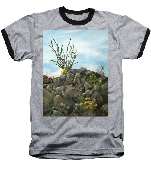 Baseball T-Shirt featuring the painting Ocotillo In Bloom by Roseann Gilmore