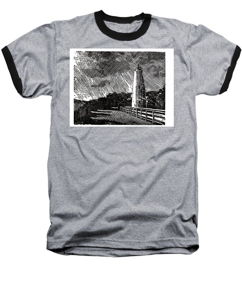Baseball T-Shirt featuring the painting Ocracoke Island Lighthouse II by Ryan Fox