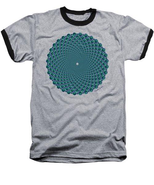 Octagonal Peacock Feathers Baseball T-Shirt