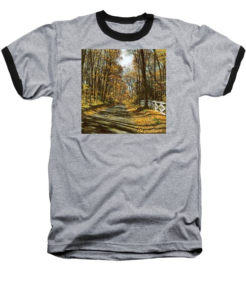 Baseball T-Shirt featuring the painting October Backroad by Doug Kreuger