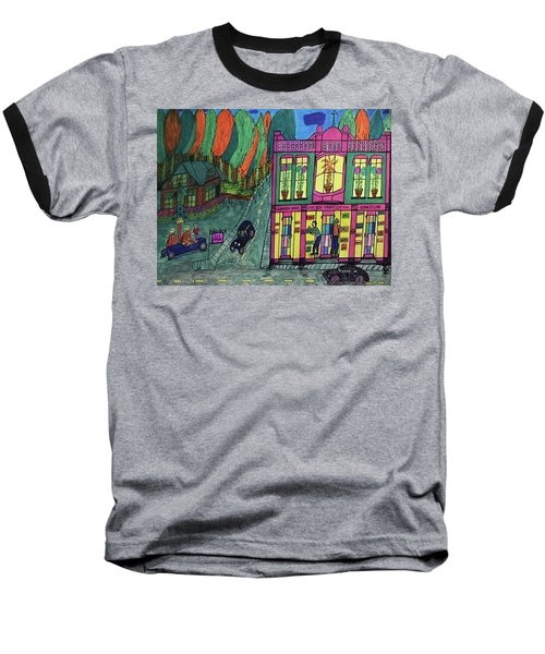 Baseball T-Shirt featuring the drawing Oddfellows Building. Historical Menominee Art. by Jonathon Hansen