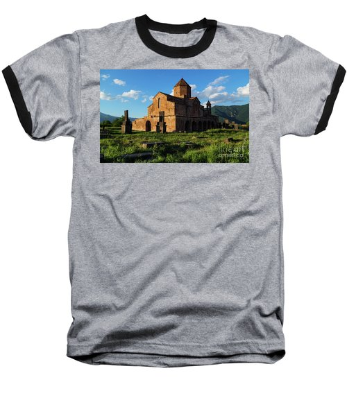 Odzun Church And Puffy Clouds At Evening, Armenia Baseball T-Shirt by Gurgen Bakhshetsyan